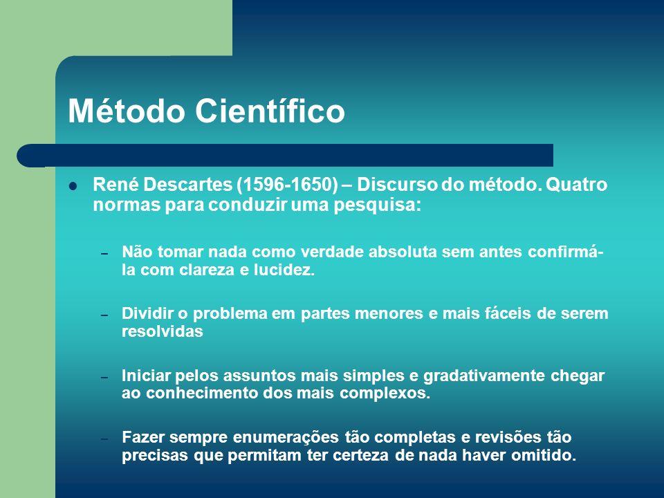Método Científico René Descartes (1596-1650) – Discurso do método. Quatro normas para conduzir uma pesquisa: – Não tomar nada como verdade absoluta se