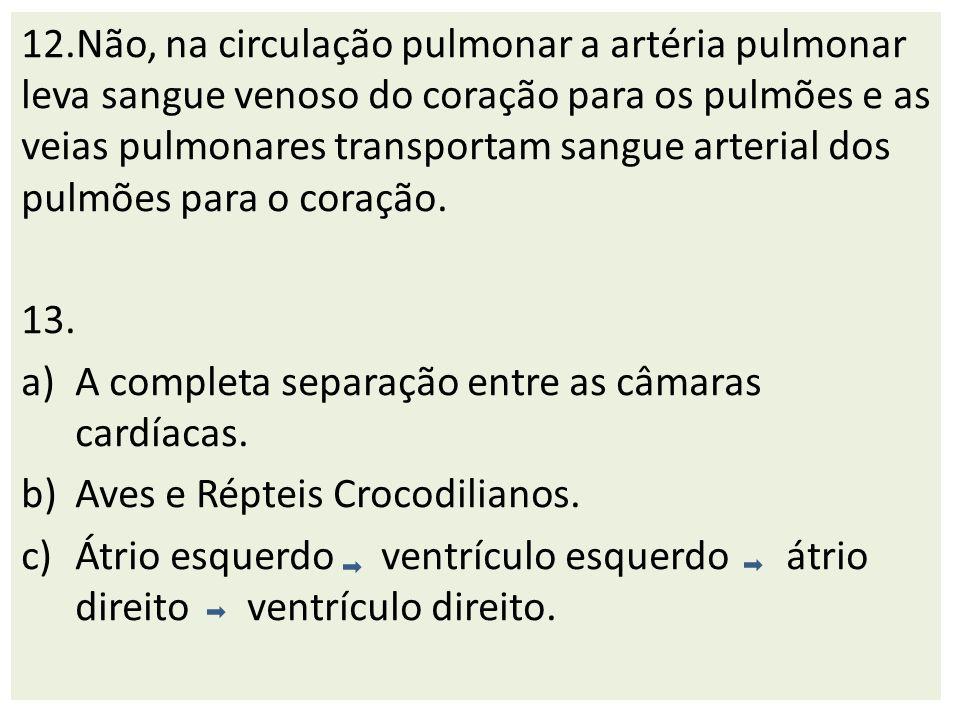 12.Não, na circulação pulmonar a artéria pulmonar leva sangue venoso do coração para os pulmões e as veias pulmonares transportam sangue arterial dos