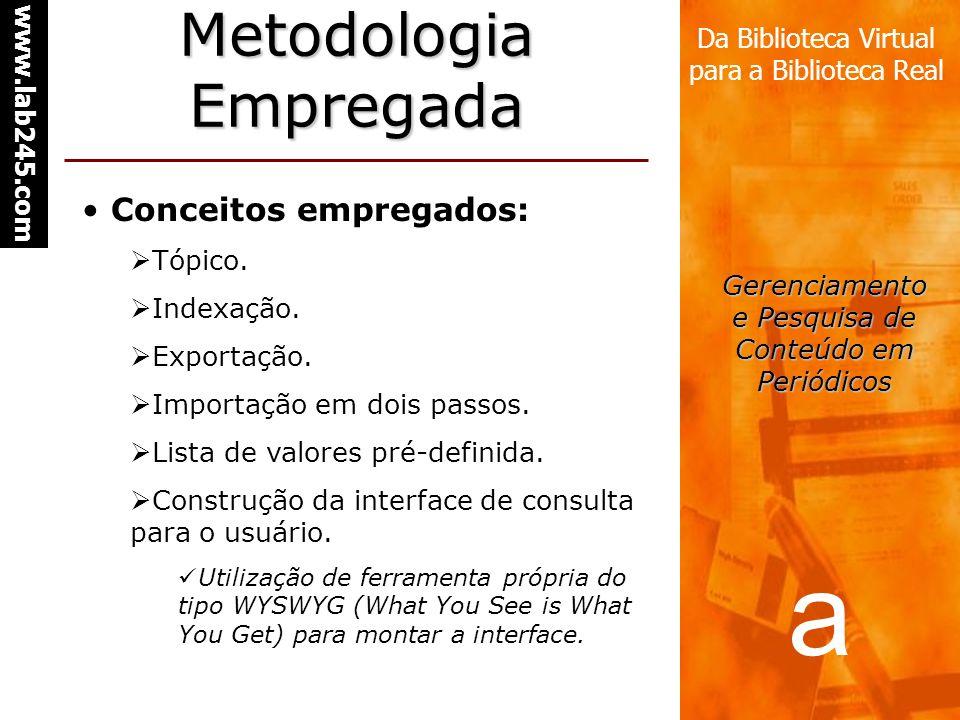 a www.lab245.com Da Biblioteca Virtual para a Biblioteca Real Gerenciamento e Pesquisa de Conteúdo em Periódicos Metodologia Empregada Conceitos empregados: Tópico.