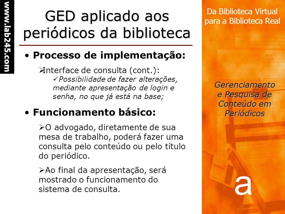 a www.lab245.com Da Biblioteca Virtual para a Biblioteca Real Gerenciamento e Pesquisa de Conteúdo em Periódicos GED aplicado aos periódicos da biblio