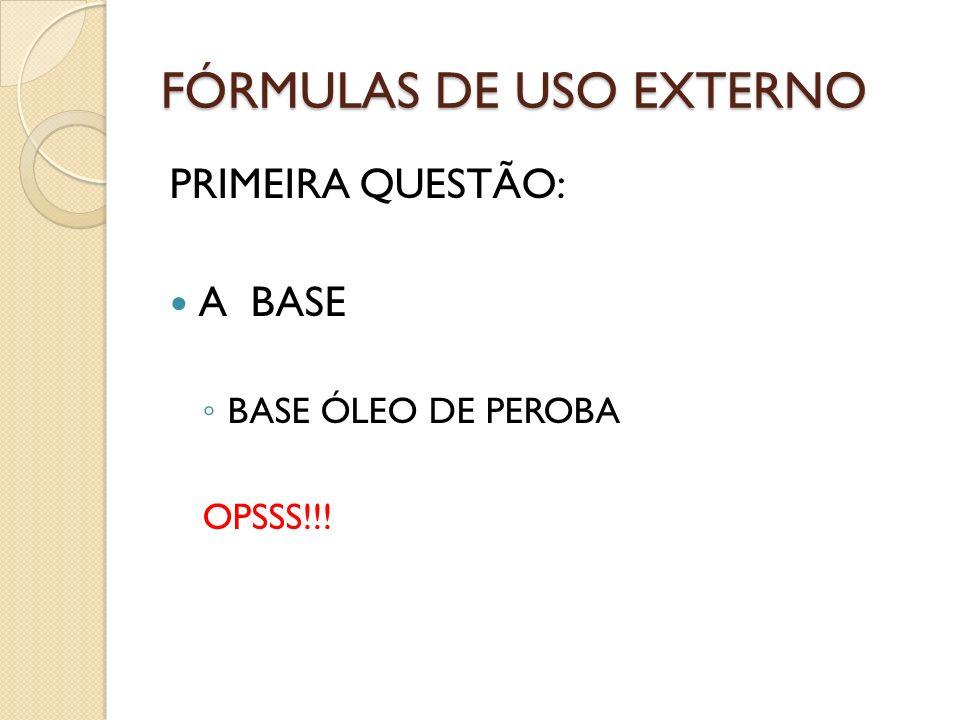 FÓRMULAS DE USO EXTERNO ÁREAS DIVERSAS Shampoo Fortificante Arnica montana – tintura - 5% Pilocarpus jaborandi - tintura -5% Rosamarinus off – tintura -5% Vit.