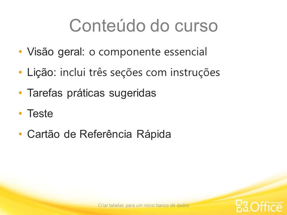 Conteúdo do curso Visão geral: o componente essencial Lição: inclui três seções com instruções Tarefas práticas sugeridas Teste Cartão de Referência R
