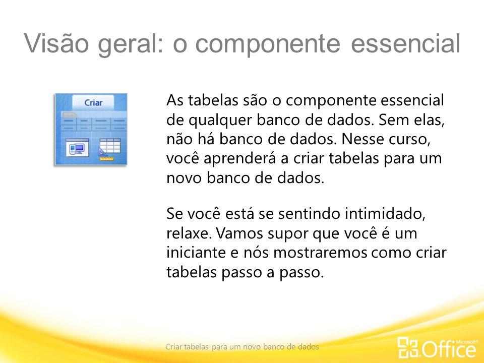 Visão geral: o componente essencial Criar tabelas para um novo banco de dados As tabelas são o componente essencial de qualquer banco de dados. Sem el
