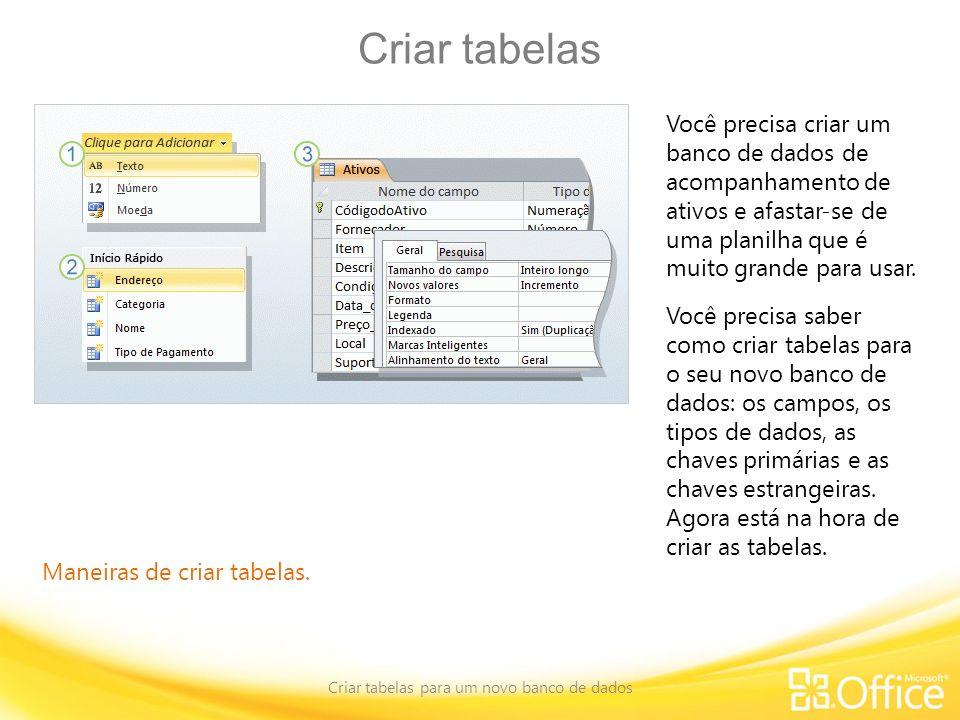 Criar tabelas Criar tabelas para um novo banco de dados Maneiras de criar tabelas. Você precisa criar um banco de dados de acompanhamento de ativos e