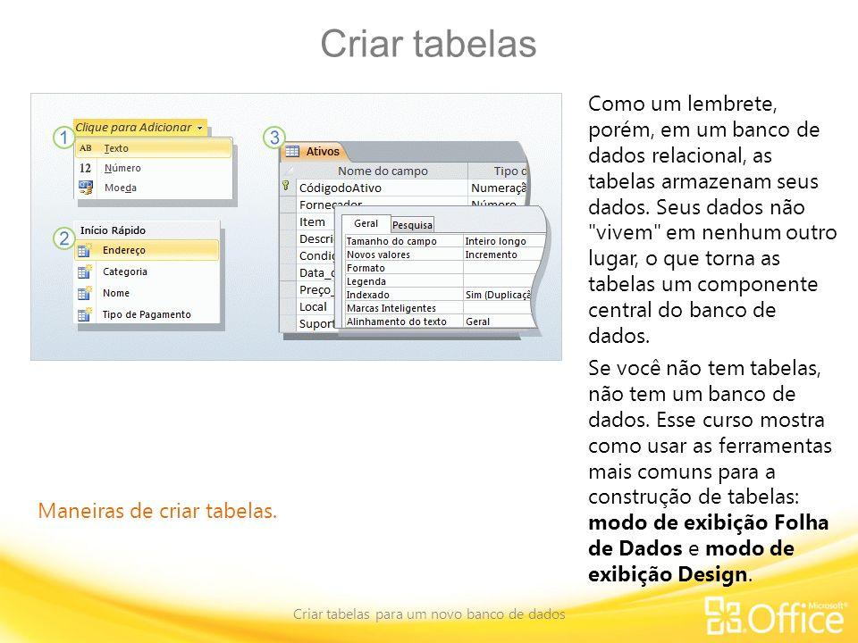 Criar tabelas Criar tabelas para um novo banco de dados Maneiras de criar tabelas. Como um lembrete, porém, em um banco de dados relacional, as tabela