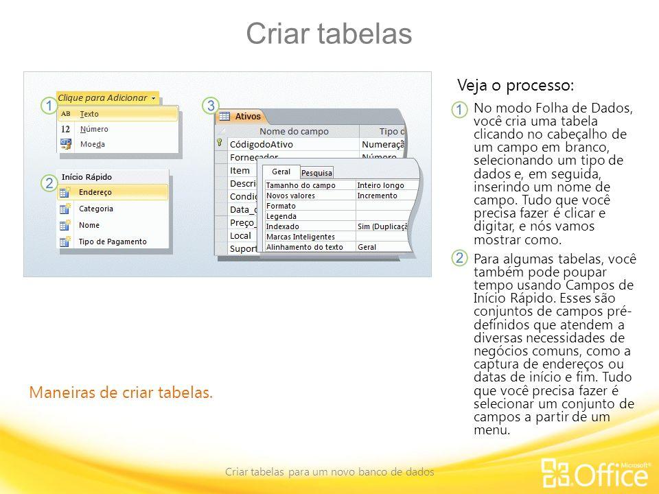 Criar tabelas Criar tabelas para um novo banco de dados Maneiras de criar tabelas. Veja o processo: No modo Folha de Dados, você cria uma tabela clica