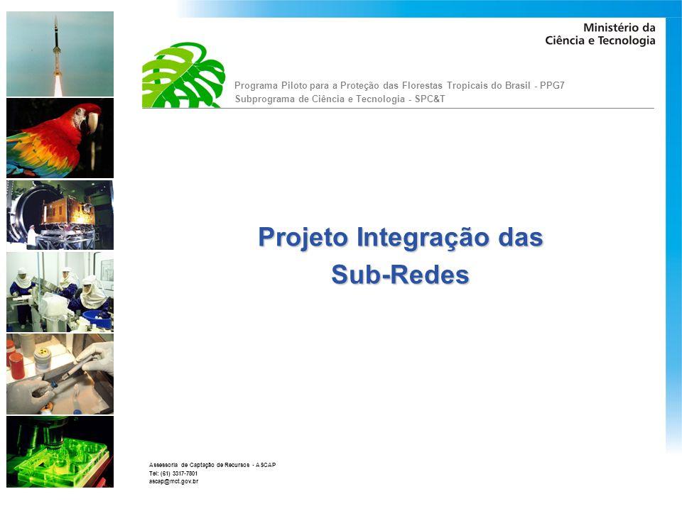 Programa Piloto para a Proteção das Florestas Tropicais do Brasil - PPG7 Subprograma de Ciência e Tecnologia - SPC&T Assessoria de Captação de Recursos - ASCAP Tel: (61) 3317-7801 ascap@mct.gov.br O MCT, buscando atender a solicitação de criar mecanismos que dinamizem o contato e a troca de informações entre os pesquisadores das Sub-rede, implementou, no seu portal, alguns mecanismos que irão contribuir para maior integração entre os projetos.