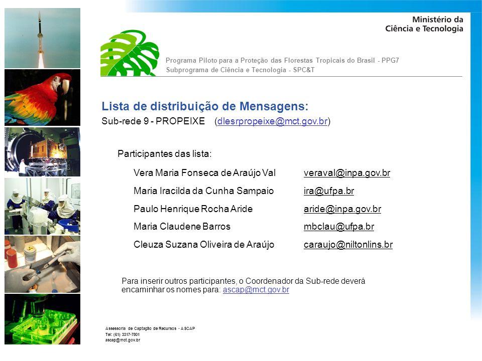 Programa Piloto para a Proteção das Florestas Tropicais do Brasil - PPG7 Subprograma de Ciência e Tecnologia - SPC&T Assessoria de Captação de Recursos - ASCAP Tel: (61) 3317-7801 ascap@mct.gov.br Fórum PPG7: O Fórum SPC&T (PPG7) é uma ferramenta que disponibilizará documentos para discussão e debate.