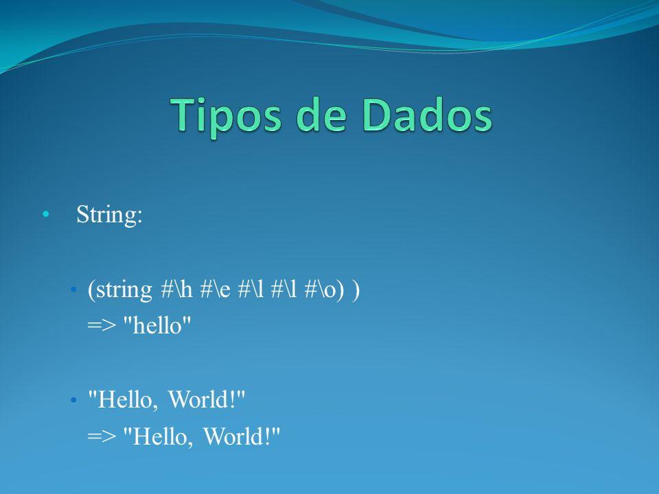 String: (string #\h #\e #\l #\l #\o) ) => hello Hello, World! => Hello, World!