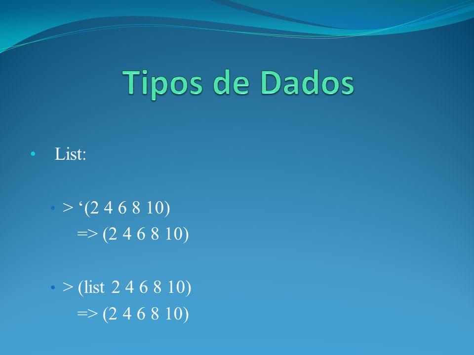 List: > (2 4 6 8 10) => (2 4 6 8 10) > (list 2 4 6 8 10) => (2 4 6 8 10)