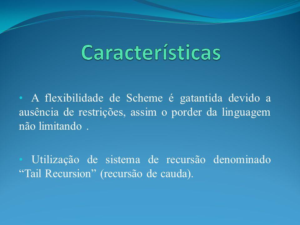 A flexibilidade de Scheme é gatantida devido a ausência de restrições, assim o porder da linguagem não limitando. Utilização de sistema de recursão de