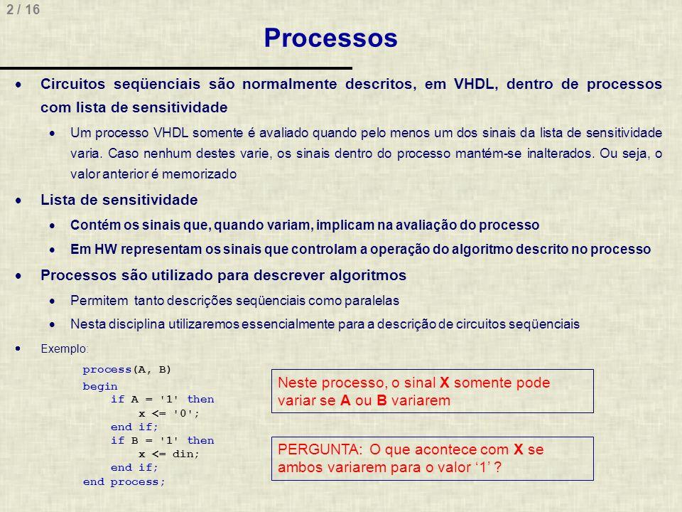 3 / 16 Atribuição de Variáveis Variáveis VHDL são sinais com comportamento igual à variáveis de software com escopo local, mas persistência de valor São declaradas e usadas internamente a processos As atribuições são seqüenciais, ou seja, a ordem da variáveis importa O valor das variáveis é mantido ao término do processo, sendo este usado na próxima avaliação do processo Exemplo: process(teste) variable a: std_logic := 1 ; variable b: std_logic; variable c: integer := 3; begin b := a; b := not b;-- Qual o valor de b antes e depois.