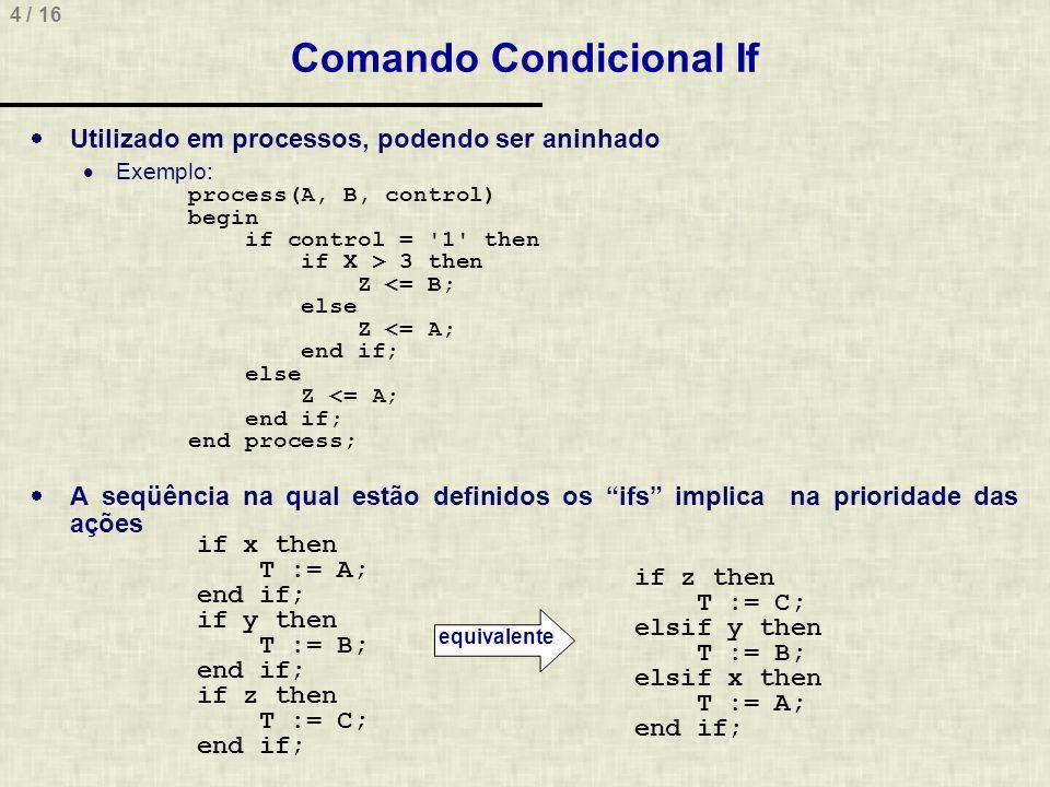 4 / 16 Comando Condicional If Utilizado em processos, podendo ser aninhado Exemplo: process(A, B, control) begin if control = 1 then if X > 3 then Z <= B; else Z <= A; end if; else Z <= A; end if; end process; A seqüência na qual estão definidos os ifs implica na prioridade das ações equivalente if z then T := C; elsif y then T := B; elsif x then T := A; end if; if x then T := A; end if; if y then T := B; end if; if z then T := C; end if;