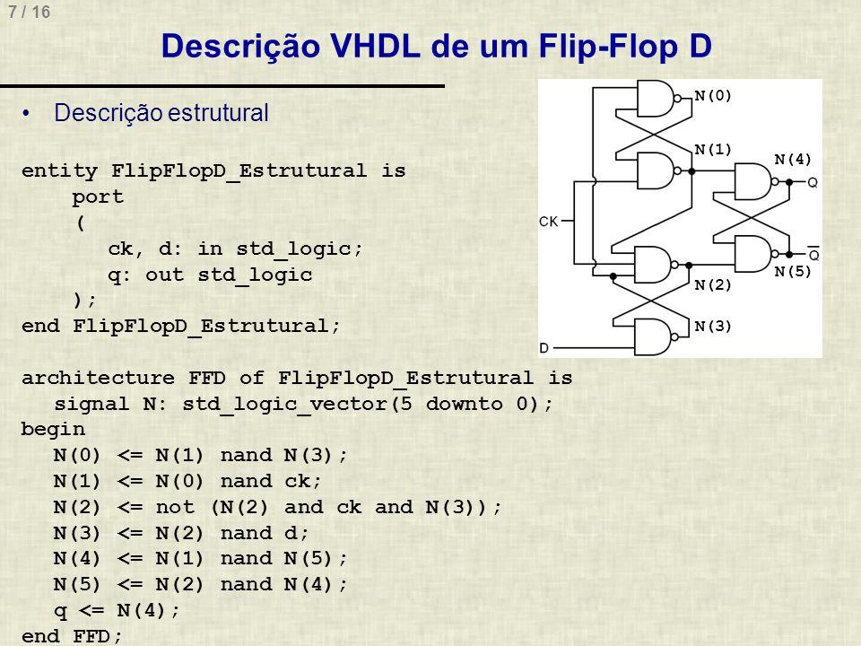 8 / 16 Descrição VHDL de um Flip-Flop D Descrição comportamental entity FlipFlopD is port ( ck, d: in std_logic; q: out std_logic ); end FlipFlopD; architecture FFD of FlipFlopD is begin process(ck) begin if ck event and ck = 1 then q <= d; end if; end process; end FFD;