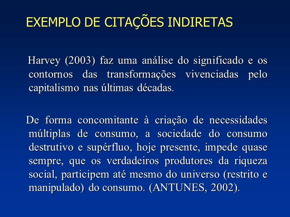 EXEMPLO DE CITAÇÕES INDIRETAS EXEMPLO DE CITAÇÕES INDIRETAS Harvey (2003) faz uma análise do significado e os contornos das transformações vivenciadas