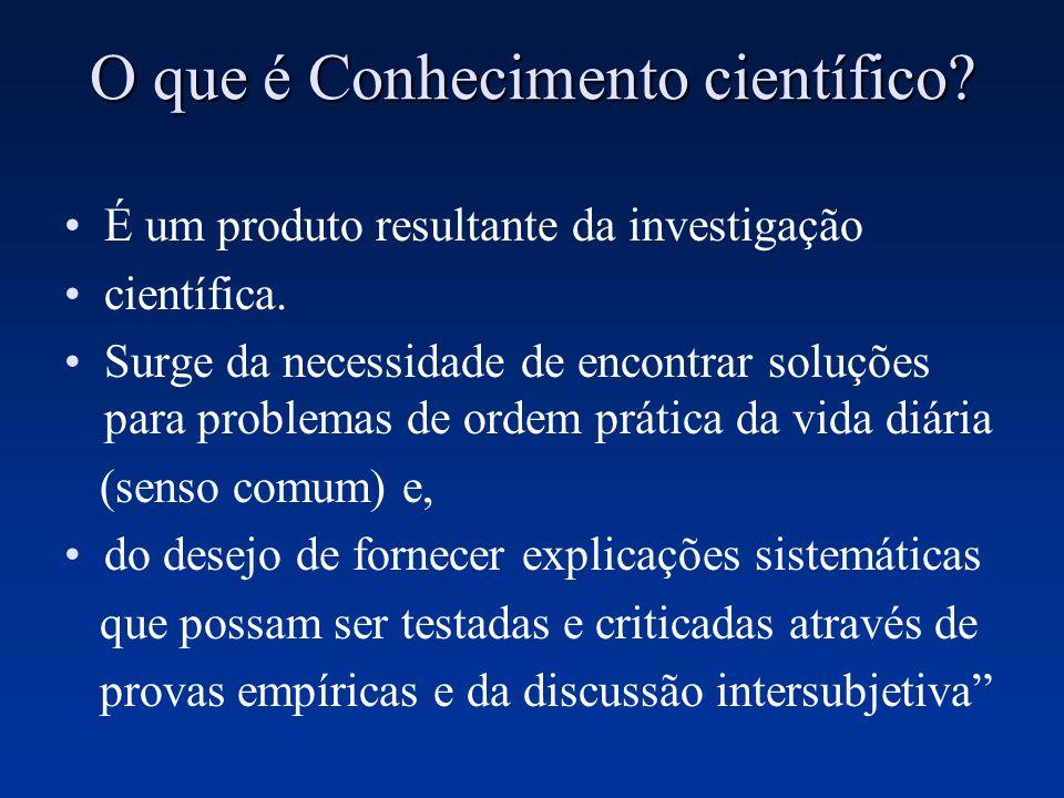 O que é Conhecimento científico? É um produto resultante da investigação científica. Surge da necessidade de encontrar soluções para problemas de orde