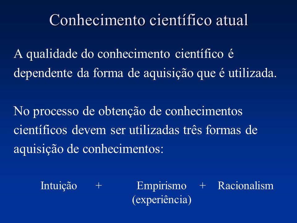 Conhecimento científico atual A qualidade do conhecimento científico é dependente da forma de aquisição que é utilizada. No processo de obtenção de co