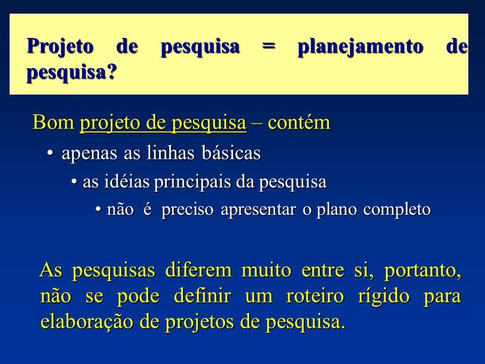 Bom projeto de pesquisa – contém Bom projeto de pesquisa – contém apenas as linhas básicasapenas as linhas básicas as idéias principais da pesquisaas