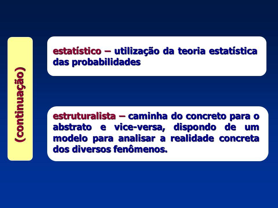 (continuação) estatístico –utilização da teoria estatística das probabilidades estatístico – utilização da teoria estatística das probabilidades estru