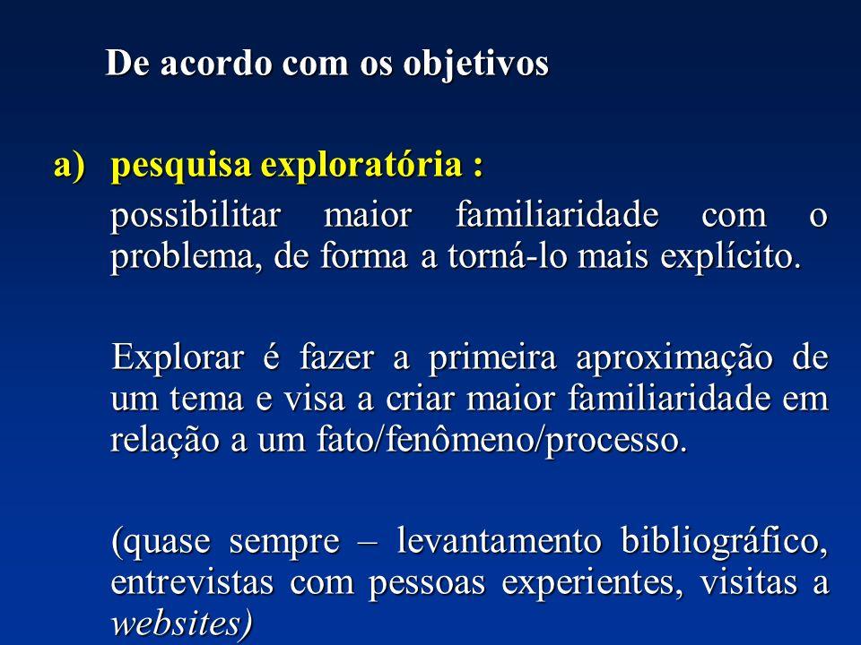 De acordo com os objetivos De acordo com os objetivos a)pesquisa exploratória : possibilitar maior familiaridade com o problema, de forma a torná-lo m