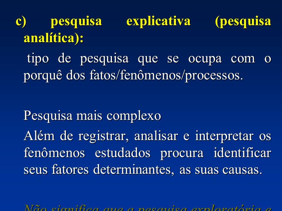 c) pesquisa explicativa (pesquisa analítica): c) pesquisa explicativa (pesquisa analítica): tipo de pesquisa que se ocupa com o porquê dos fatos/fenôm