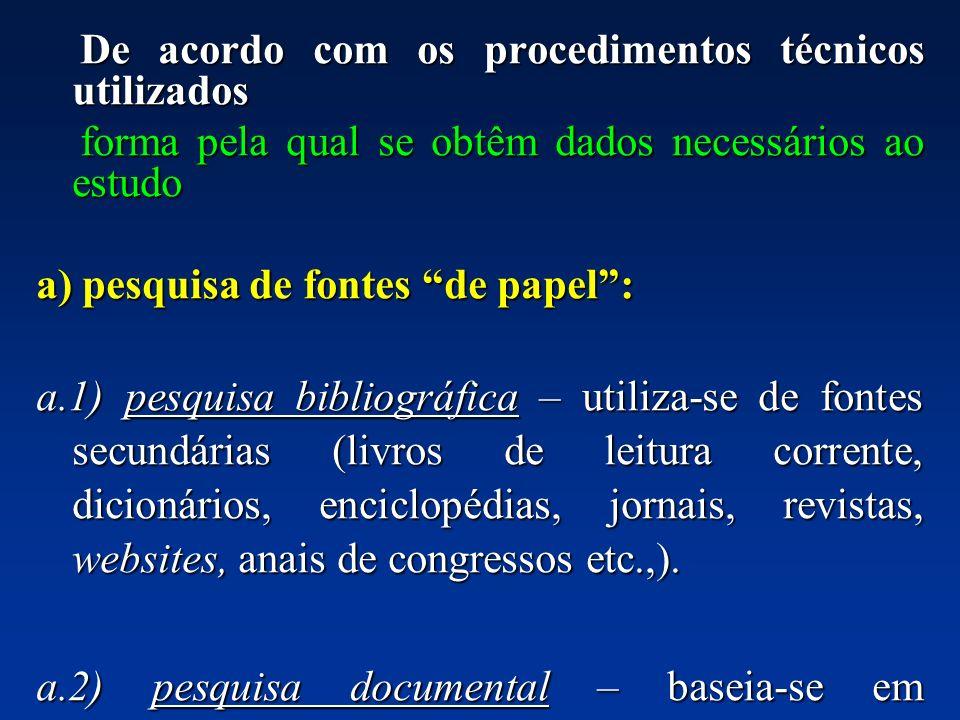 De acordo com os procedimentos técnicos utilizados De acordo com os procedimentos técnicos utilizados forma pela qual se obtêm dados necessários ao es