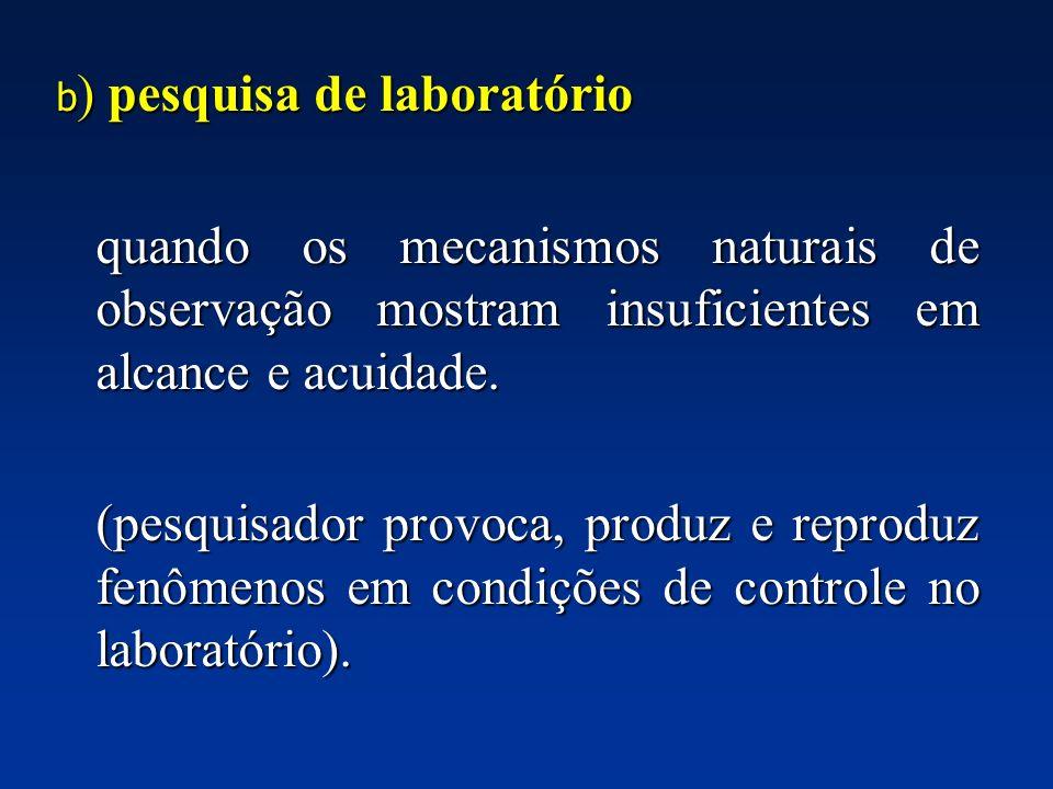 b ) pesquisa de laboratório quando os mecanismos naturais de observação mostram insuficientes em alcance e acuidade. quando os mecanismos naturais de