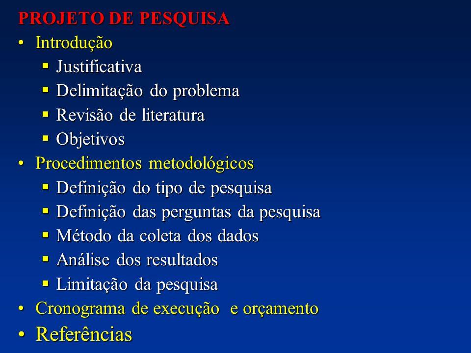 PROJETO DE PESQUISA IntroduçãoIntrodução Justificativa Justificativa Delimitação do problema Delimitação do problema Revisão de literatura Revisão de