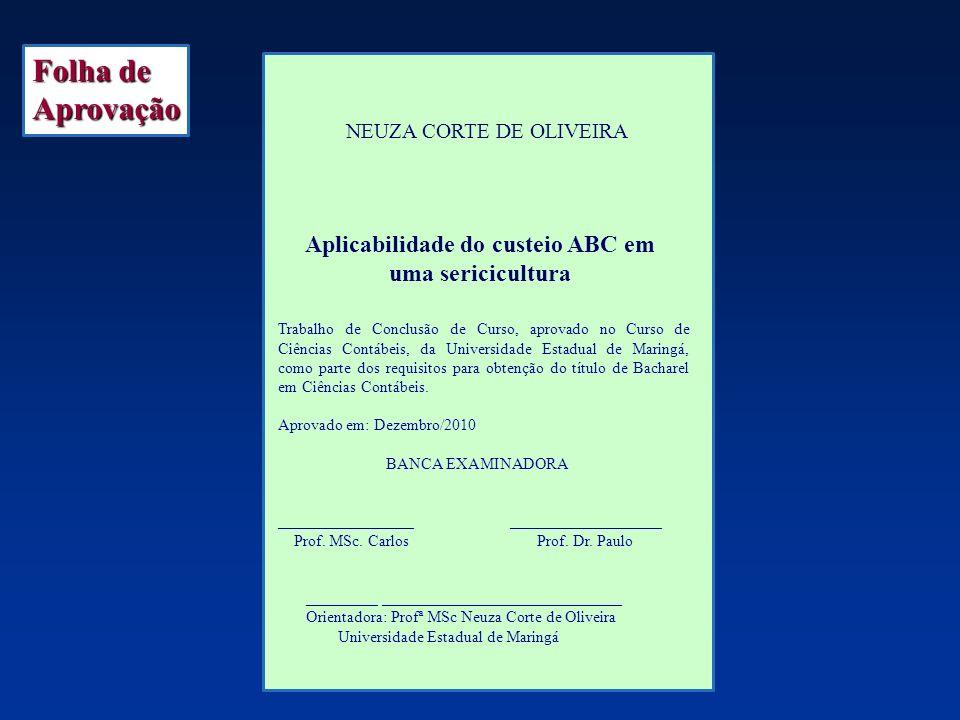 NEUZA CORTE DE OLIVEIRA Aplicabilidade do custeio ABC em uma sericicultura Folha de Aprovação Trabalho de Conclusão de Curso, aprovado no Curso de Ciê