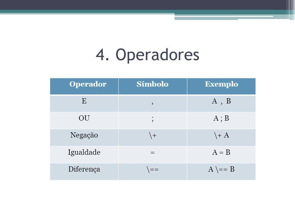 4. Operadores OperadorSímboloExemplo E,A, B OU;A ; B Negação\+\+ A Igualdade=A = B Diferença\==A \== B