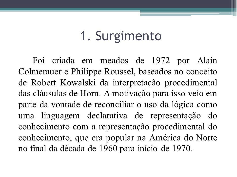 1. Surgimento Foi criada em meados de 1972 por Alain Colmerauer e Philippe Roussel, baseados no conceito de Robert Kowalski da interpretação procedime