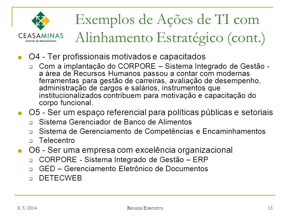 8/5/2014 Resumo Executivo 15 Exemplos de Ações de TI com Alinhamento Estratégico (cont.) O4 - Ter profissionais motivados e capacitados Com a implanta