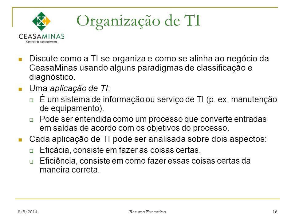 8/5/2014 Resumo Executivo 16 Organização de TI Discute como a TI se organiza e como se alinha ao negócio da CeasaMinas usando alguns paradigmas de cla