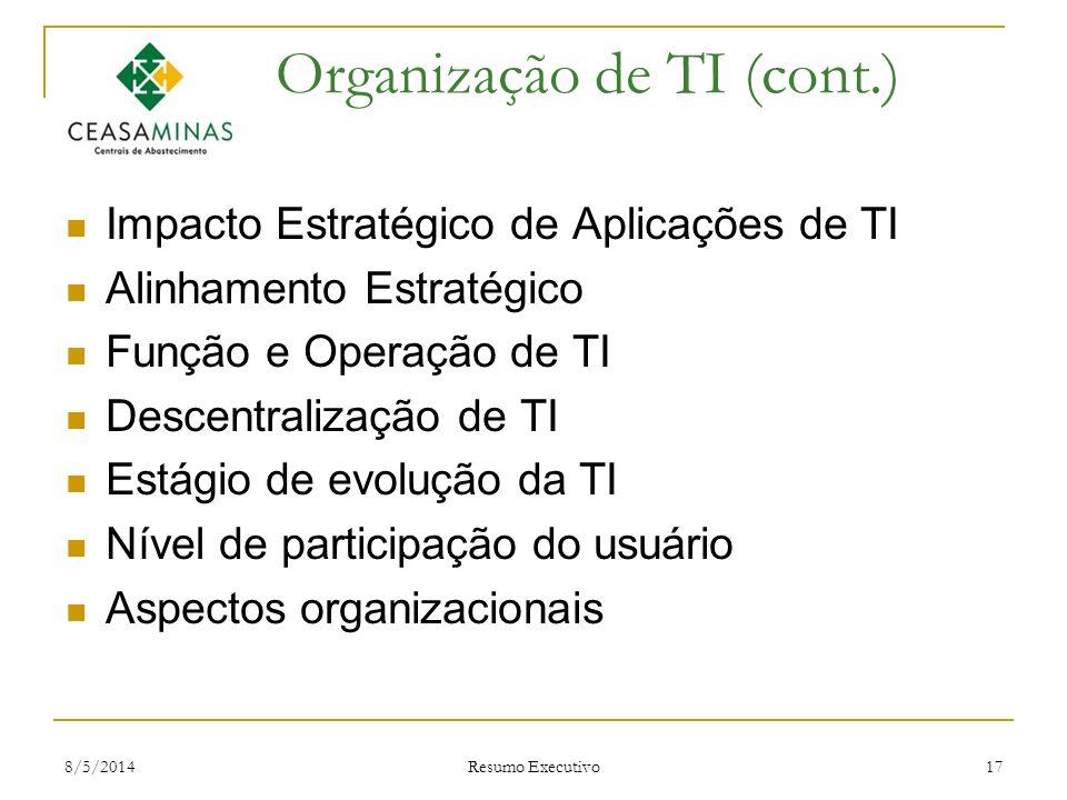 8/5/2014 Resumo Executivo 17 Organização de TI (cont.) Impacto Estratégico de Aplicações de TI Alinhamento Estratégico Função e Operação de TI Descent
