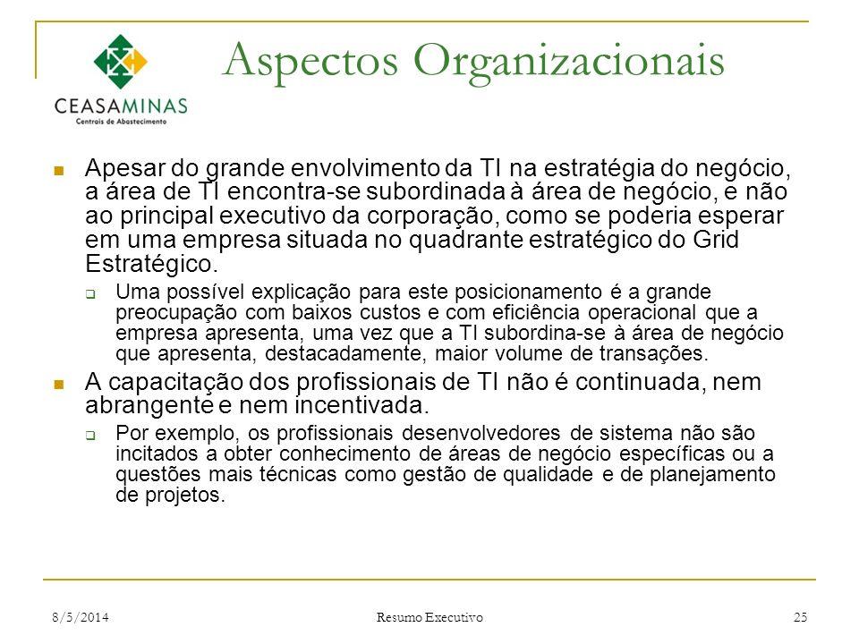 8/5/2014 Resumo Executivo 25 Aspectos Organizacionais Apesar do grande envolvimento da TI na estratégia do negócio, a área de TI encontra-se subordina