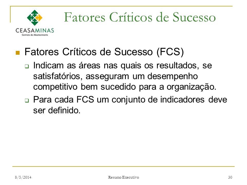 8/5/2014 Resumo Executivo 30 Fatores Críticos de Sucesso Fatores Críticos de Sucesso (FCS) Indicam as áreas nas quais os resultados, se satisfatórios,