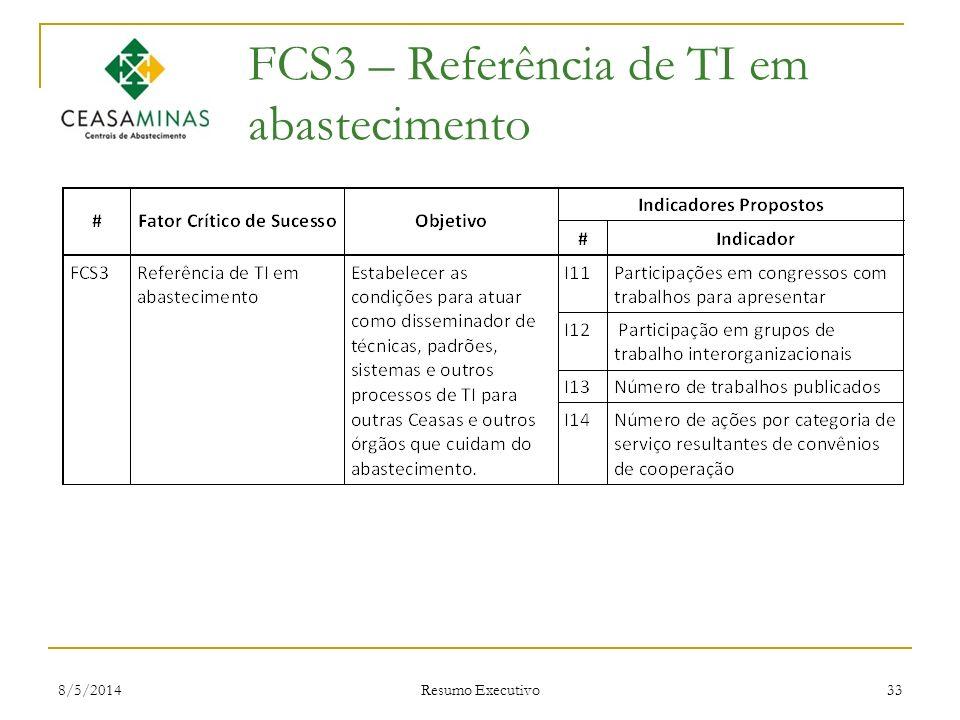 8/5/2014 Resumo Executivo 33 FCS3 – Referência de TI em abastecimento