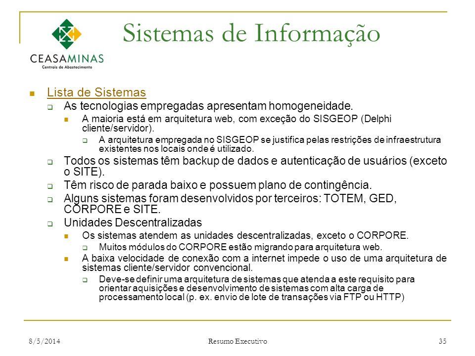 8/5/2014 Resumo Executivo 35 Sistemas de Informação Lista de Sistemas As tecnologias empregadas apresentam homogeneidade. A maioria está em arquitetur