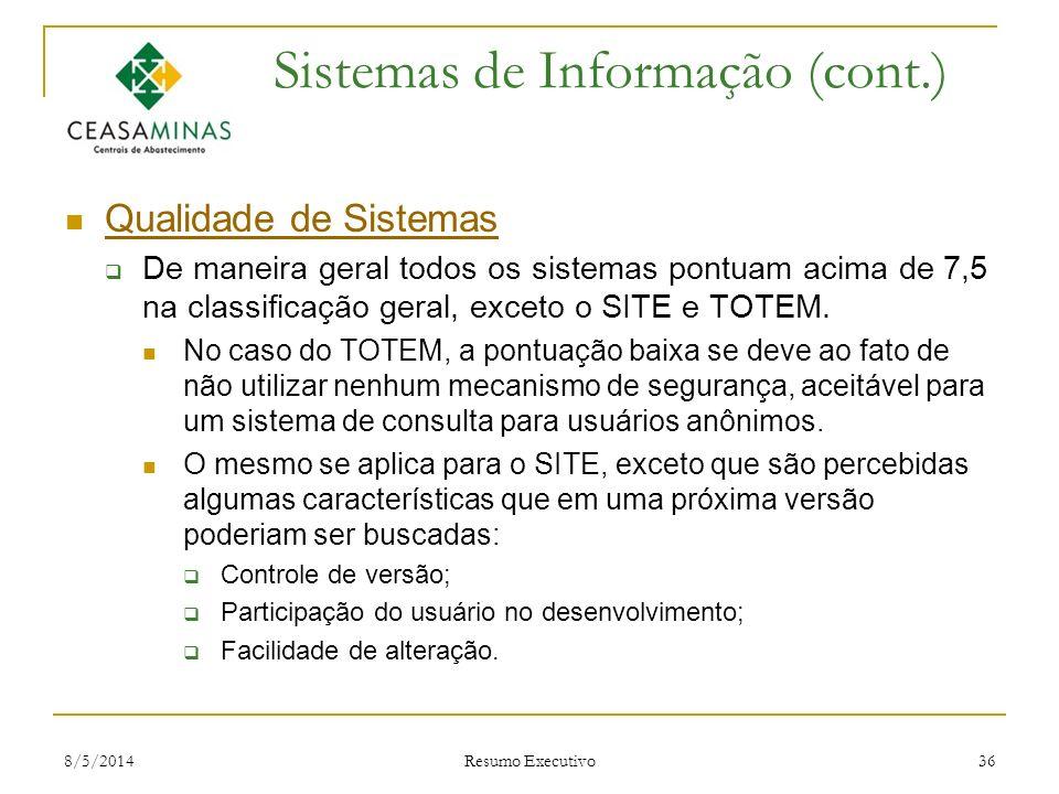 8/5/2014 Resumo Executivo 36 Sistemas de Informação (cont.) Qualidade de Sistemas De maneira geral todos os sistemas pontuam acima de 7,5 na classific