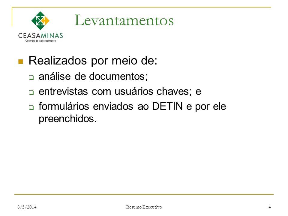 8/5/2014 Resumo Executivo 4 Levantamentos Realizados por meio de: análise de documentos; entrevistas com usuários chaves; e formulários enviados ao DE
