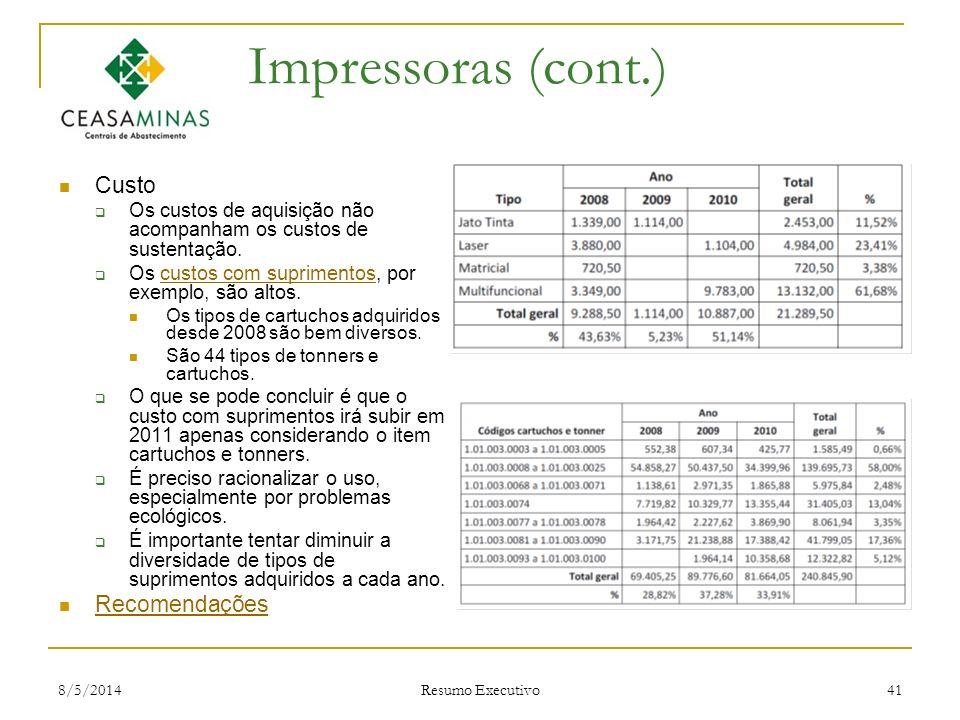 8/5/2014 Resumo Executivo 41 Impressoras (cont.) Custo Os custos de aquisição não acompanham os custos de sustentação. Os custos com suprimentos, por