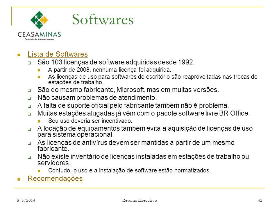 8/5/2014 Resumo Executivo 42 Softwares Lista de Softwares São 103 licenças de software adquiridas desde 1992. A partir de 2008, nenhuma licença foi ad
