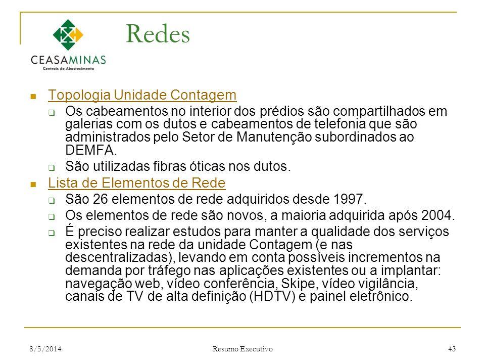 8/5/2014 Resumo Executivo 43 Redes Topologia Unidade Contagem Os cabeamentos no interior dos prédios são compartilhados em galerias com os dutos e cab