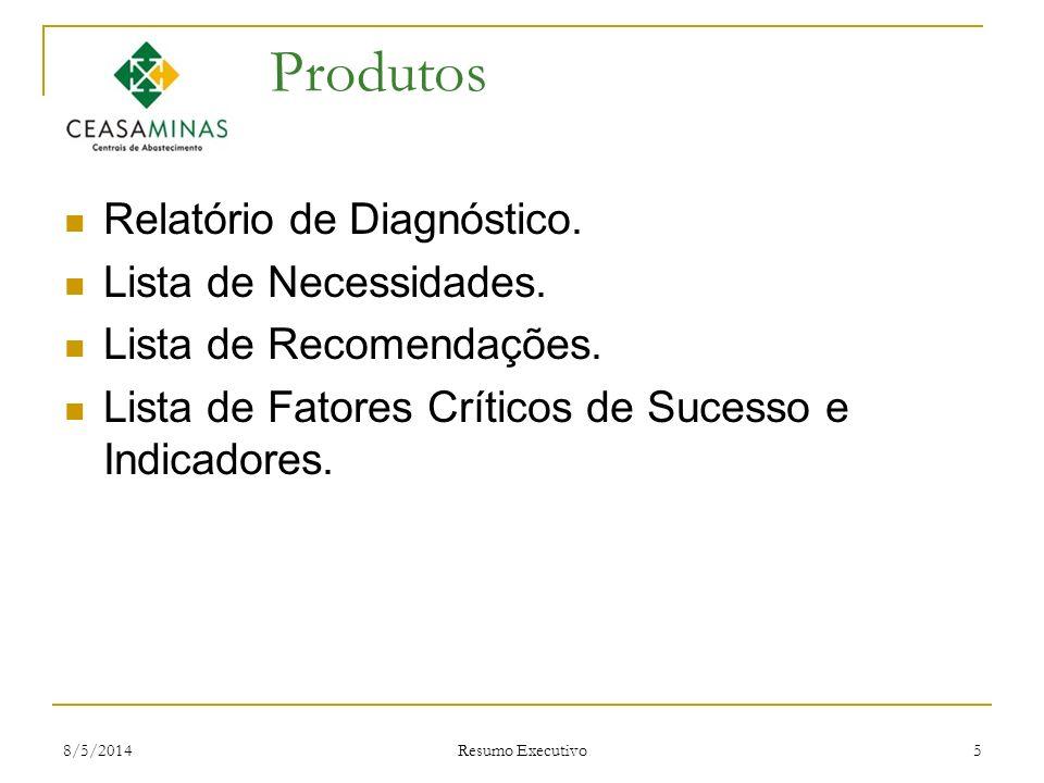 8/5/2014 Resumo Executivo 5 Produtos Relatório de Diagnóstico. Lista de Necessidades. Lista de Recomendações. Lista de Fatores Críticos de Sucesso e I