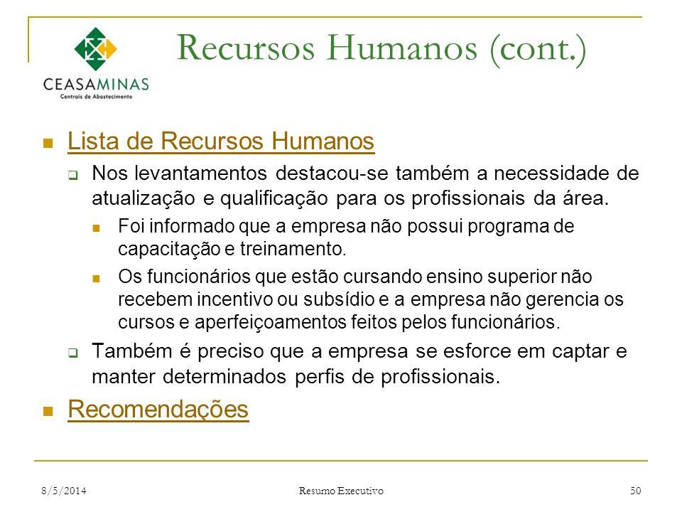 8/5/2014 Resumo Executivo 50 Recursos Humanos (cont.) Lista de Recursos Humanos Nos levantamentos destacou-se também a necessidade de atualização e qu