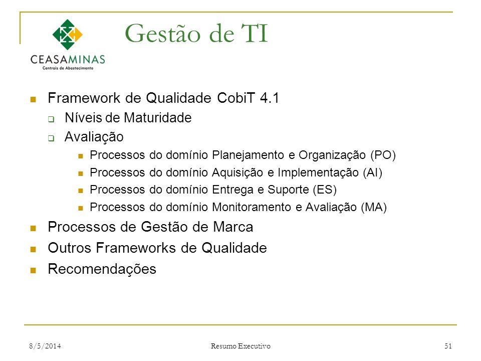 8/5/2014 Resumo Executivo 51 Gestão de TI Framework de Qualidade CobiT 4.1 Níveis de Maturidade Avaliação Processos do domínio Planejamento e Organiza