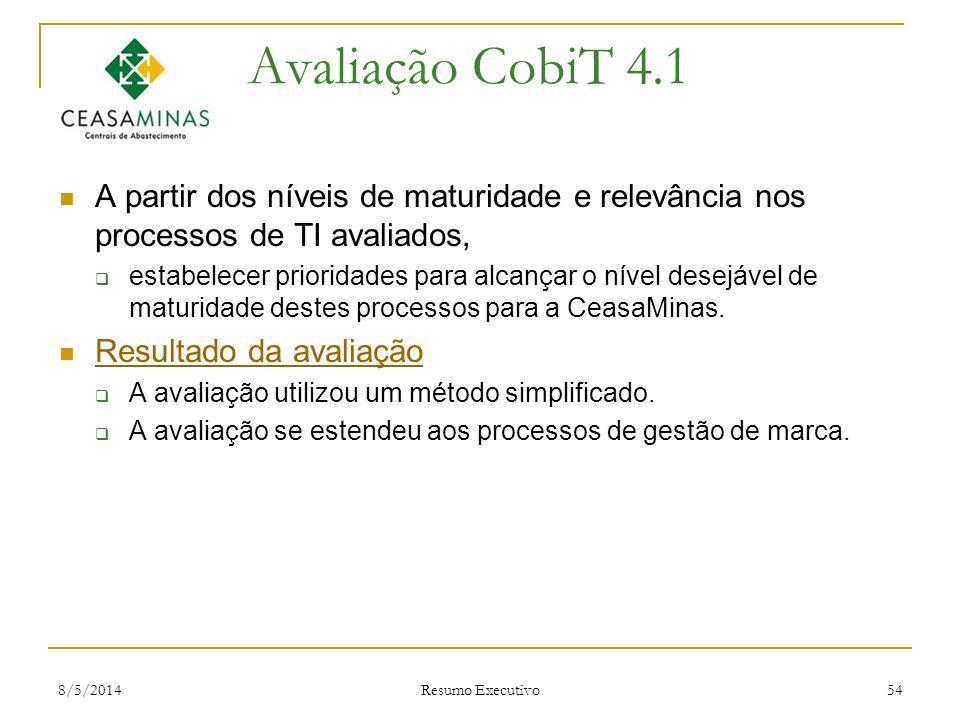 8/5/2014 Resumo Executivo 54 Avaliação CobiT 4.1 A partir dos níveis de maturidade e relevância nos processos de TI avaliados, estabelecer prioridades