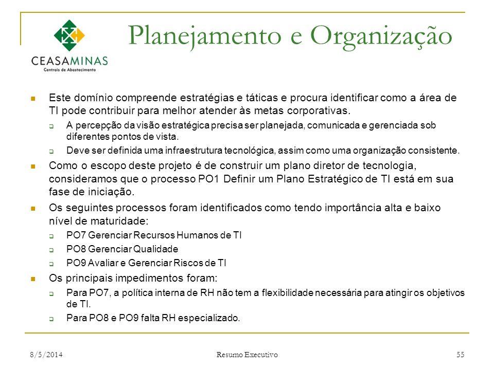 8/5/2014 Resumo Executivo 55 Planejamento e Organização Este domínio compreende estratégias e táticas e procura identificar como a área de TI pode con