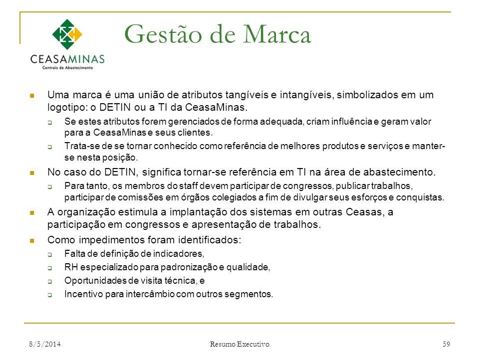 8/5/2014 Resumo Executivo 59 Gestão de Marca Uma marca é uma união de atributos tangíveis e intangíveis, simbolizados em um logotipo: o DETIN ou a TI
