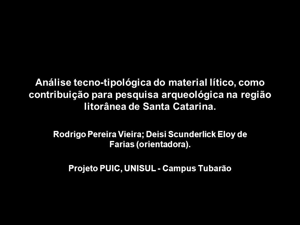 Apresentação Análise do material lítico dos sítios resgatados do projeto:Monitoramento, Salvamento, Educação patrimonial e Valorização dos Sítios Arqueológicos Localizados na Área Diretamente Afetada e na área de Influência Direta da rodovia SC-487 – Barra do Camacho/Jaguaruna – SC.
